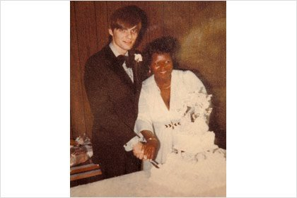 Steve and Denise Beumer at their wedding 35 years ago.