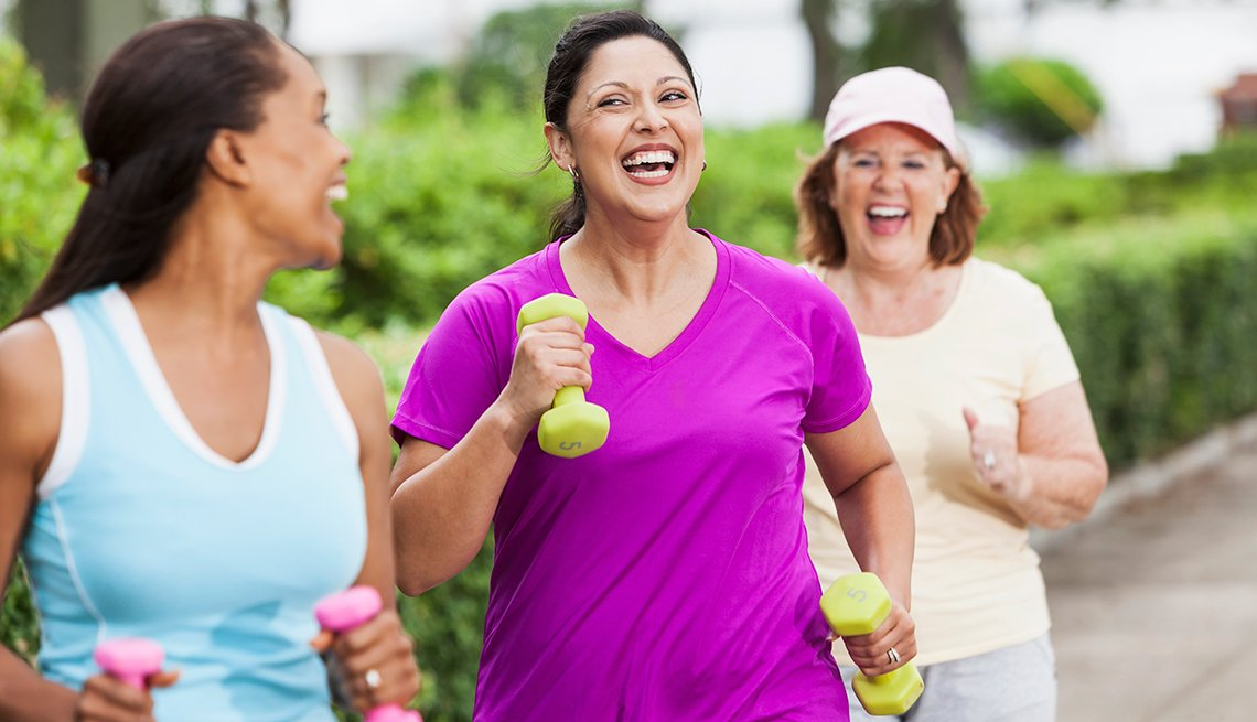 Multi-ethnic women, exercising, outdoors, wellness, AARP Research, Health care