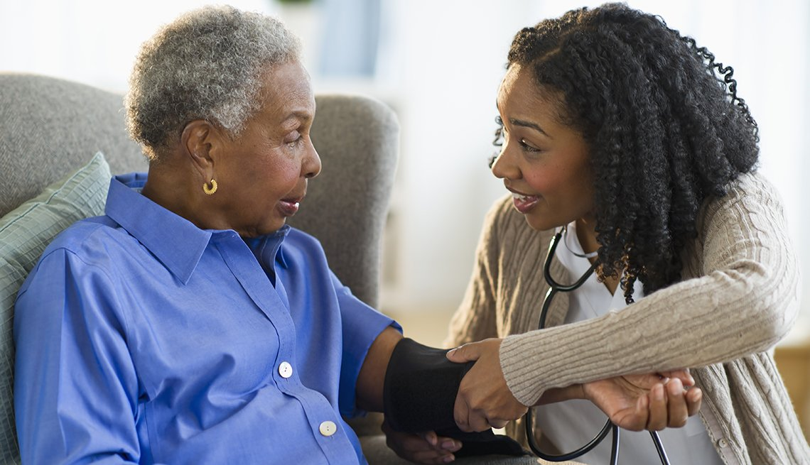 Nurse, patient, blood pressure, Residential care, AARP Research, Long-Term Care