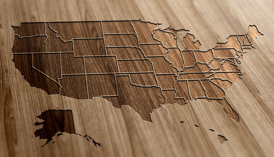 United States map, state borders outlined, AARP Research, State Resources