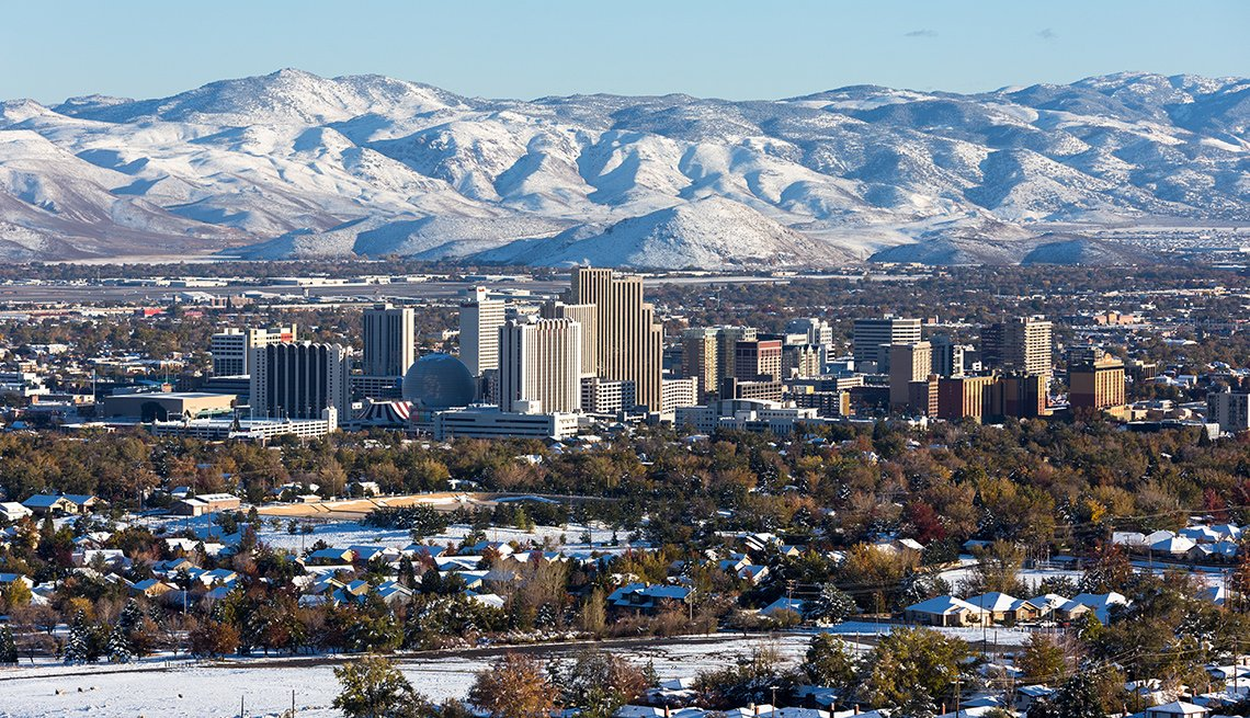 A view of the Reno Nevada cityscape in winter