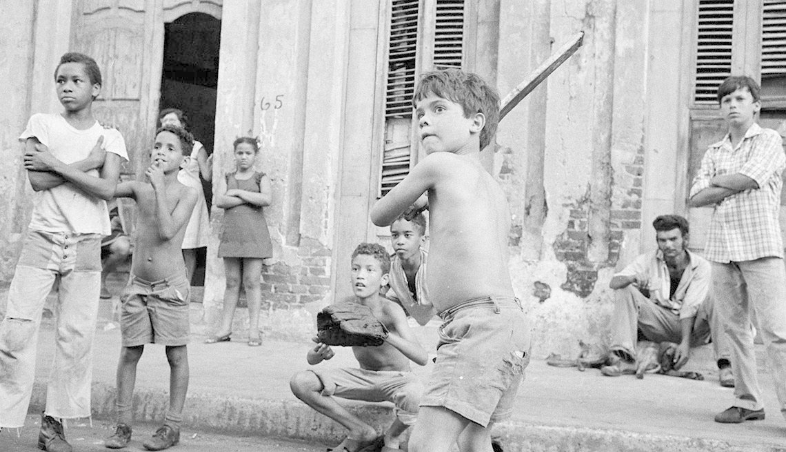 Boy at bat in Havana, Latinos in Baseball