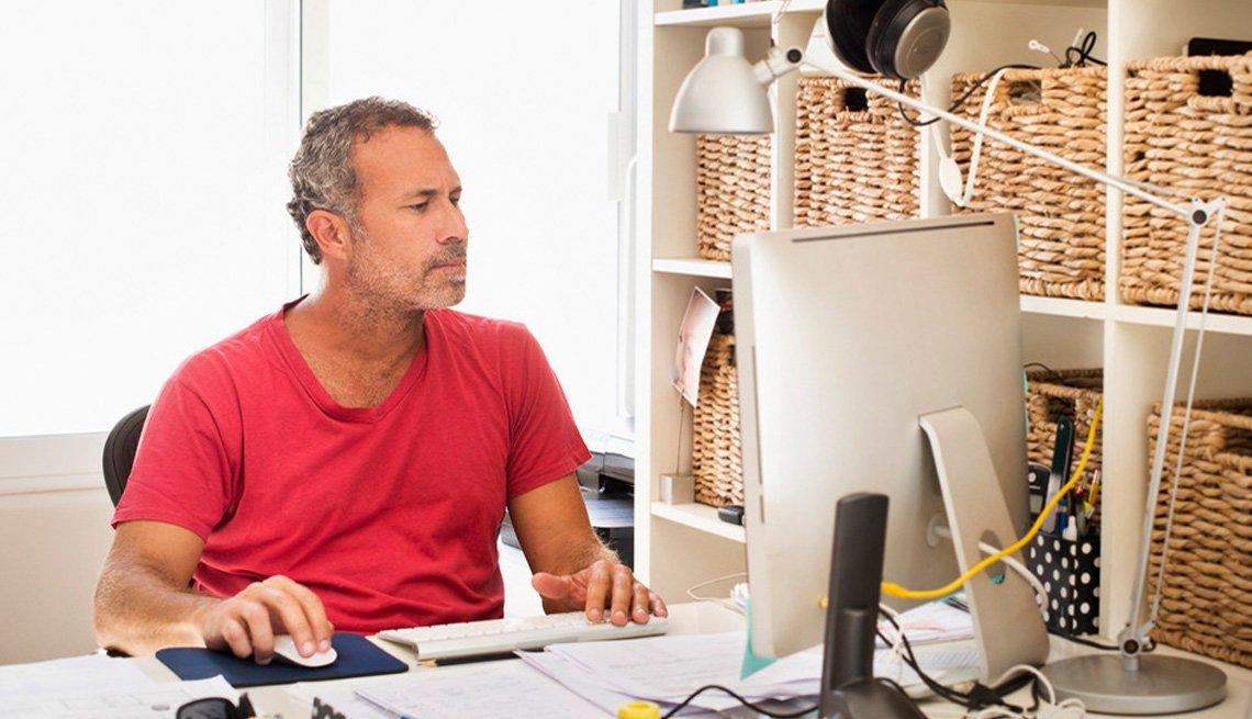 Technology, Mature man on desktop computer