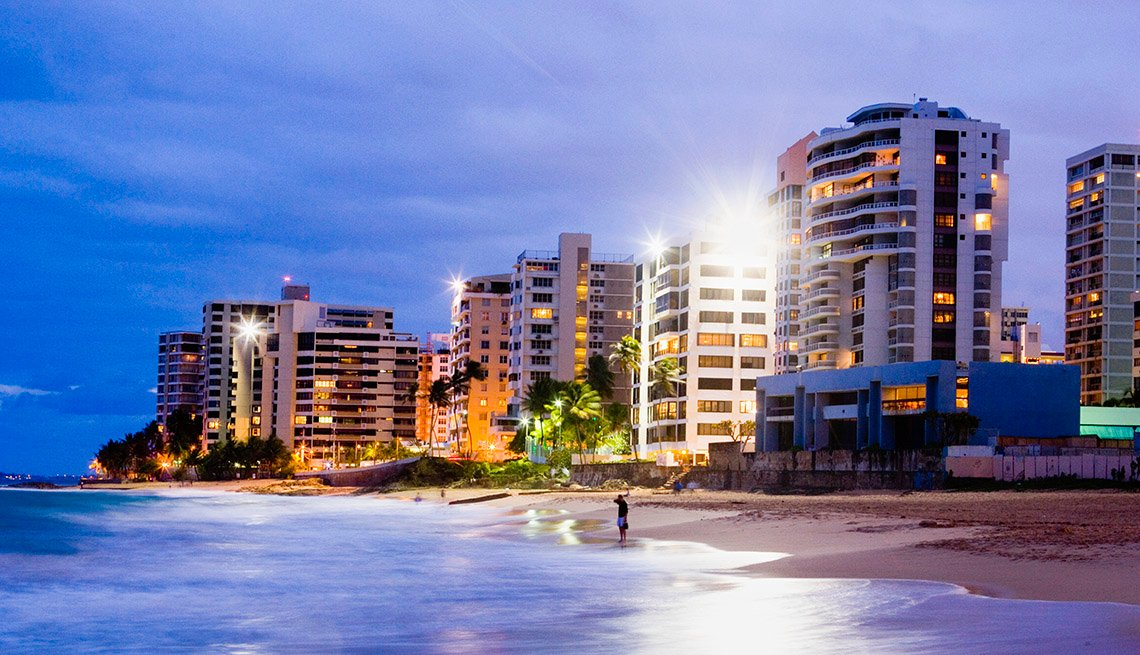 The Beach And City Of San Juan In Puerto Rico At Night, Top USA Travel Destinations