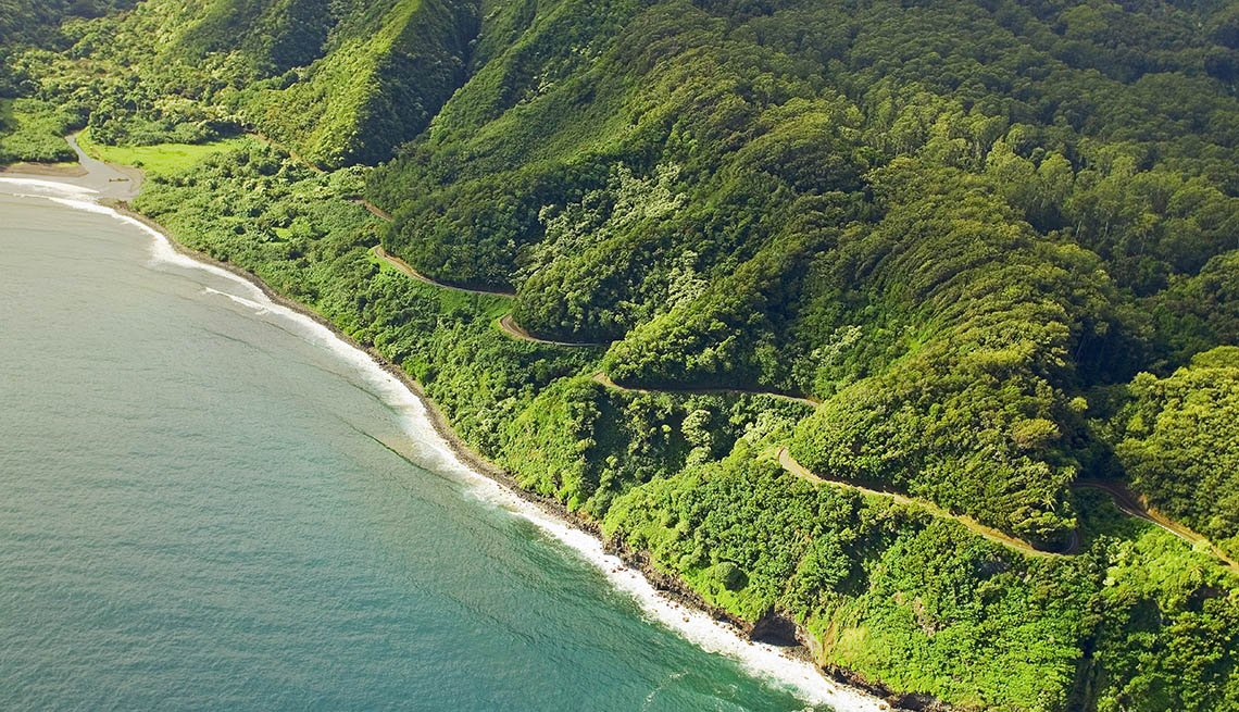 Aerial View Of Hawaii's Coastline And The Famous Hana Highway, Free USA Destinations