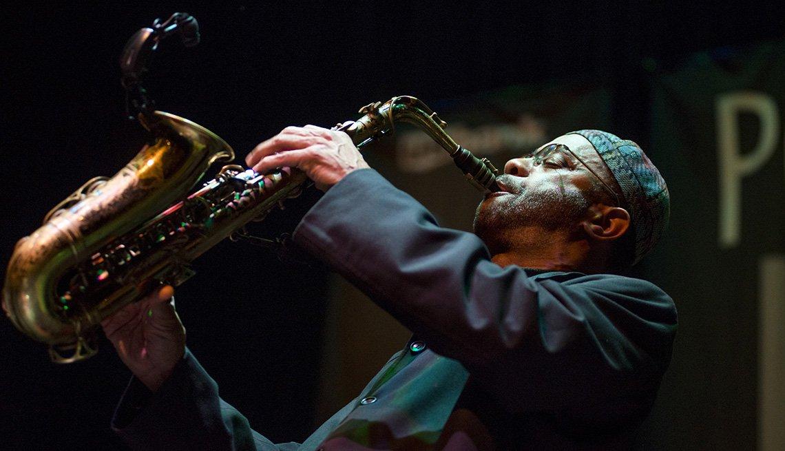 Jazz Musician Plays Saxophone In Portland Oregon, Top USA Destination Cities
