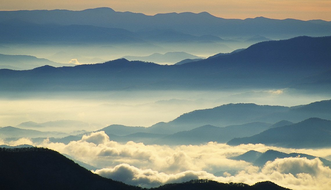 Aerial View Of Mist Over The Smoky Mountains