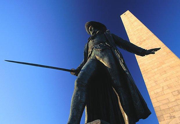 Estatua de William Prescott, Bunker Hill Monument. Charlestown. Boston - 10 lugares en Estados Unidos con vistas increíbles