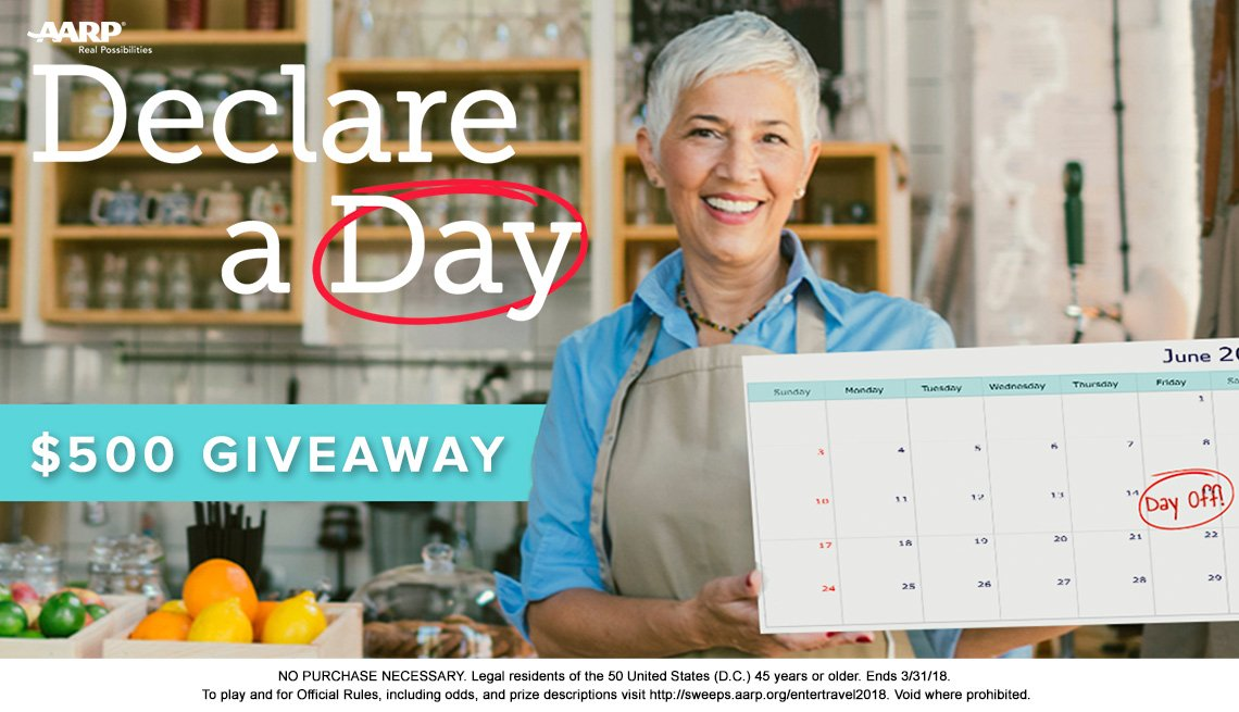 mature woman holding a calendar in support of Declare a Day Giveaway
