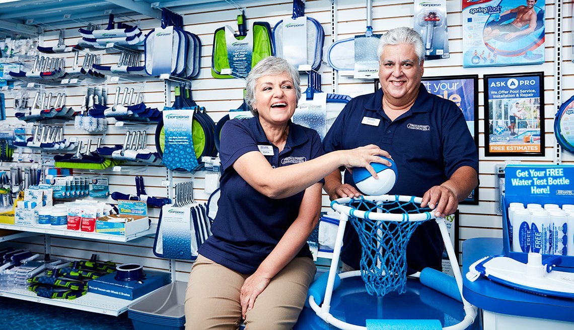 Franchise store owner Miguel Escobar, 59, and his wife Maria Vidal-Escobar inside their pool store