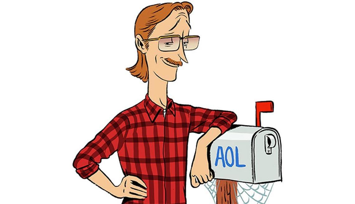 Illustración de un homnbre en buzón de correos