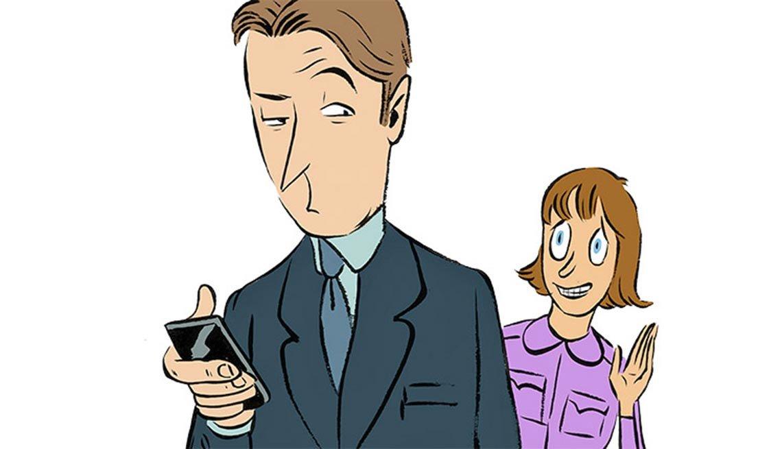 Illustración de una mujer y un hombre hablando por celular