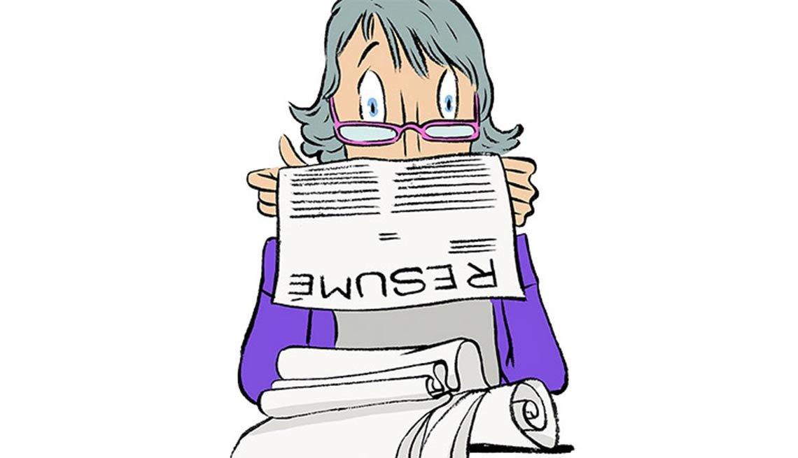 Ilustración de una mujer leyendo su curriculum