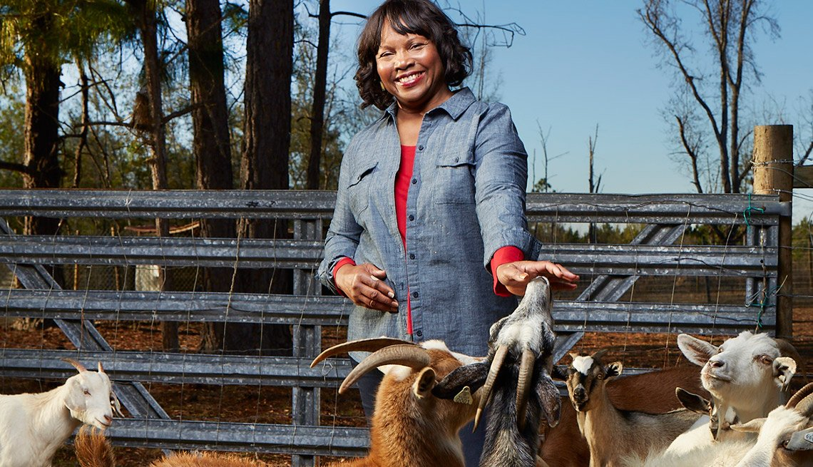 Beverly Robinson at her goat farm in Soperton, Georgia