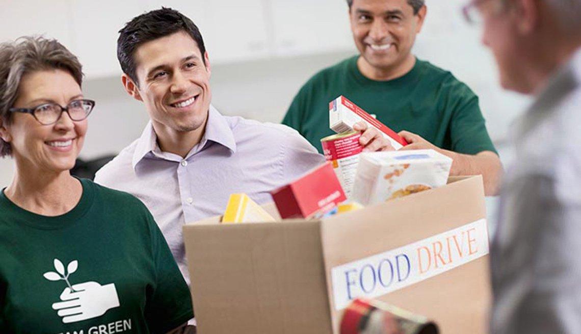 Volunteers collecting food donations. Jobs in demand in nonprofit