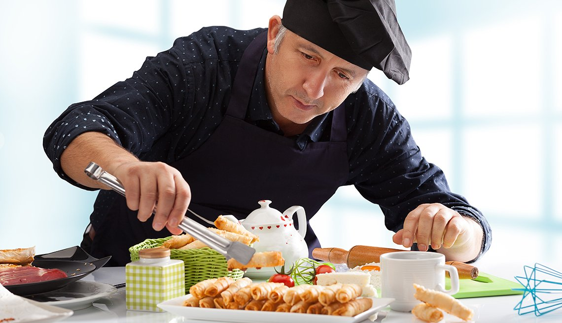 a food stylist at work