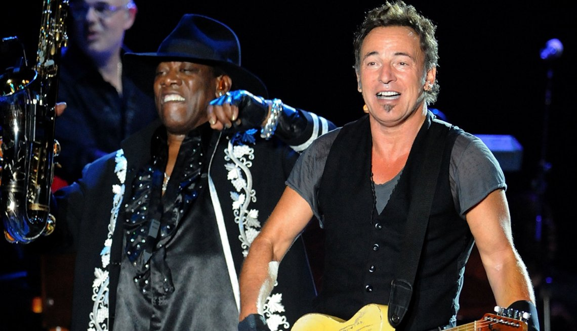 Bruce Springsteen and Clarence Clemons perform on stage, E Street Band, Creative Thinking
