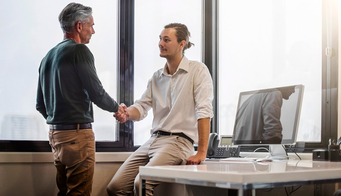 Older Younger Man Handshake Office, Over 40? 7 Things Never To Say in a Job Interview