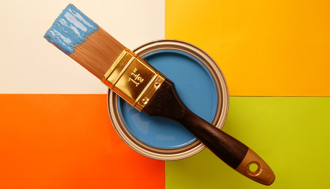 paint brush, paint and swatches