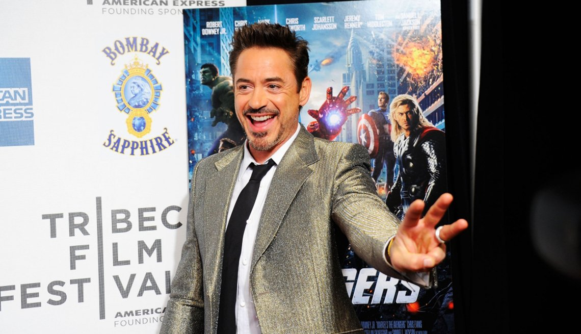 Actor Robert Downey Jr. at a movie premiere