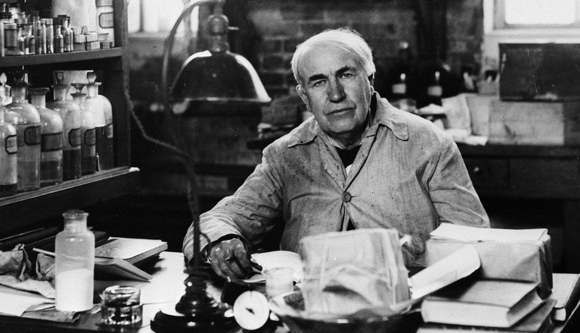 Inventor Thomas Edison in his lab