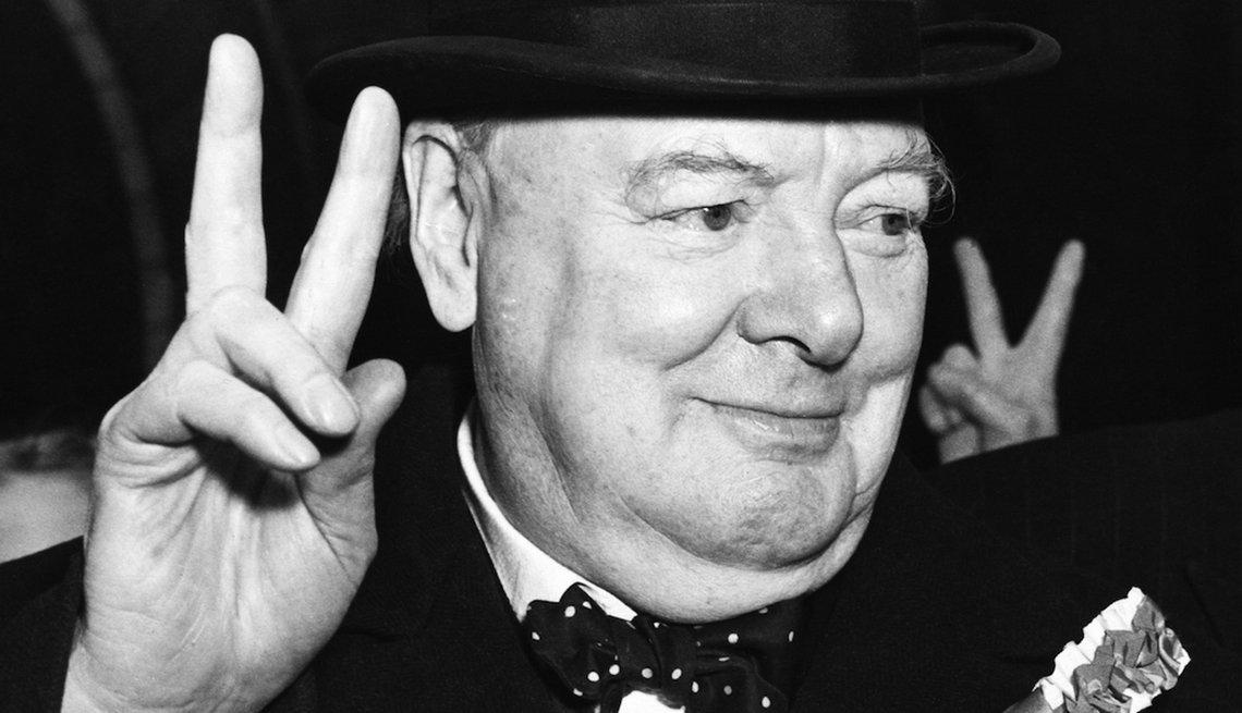 British Prime Minister Winston Churchill during campaign
