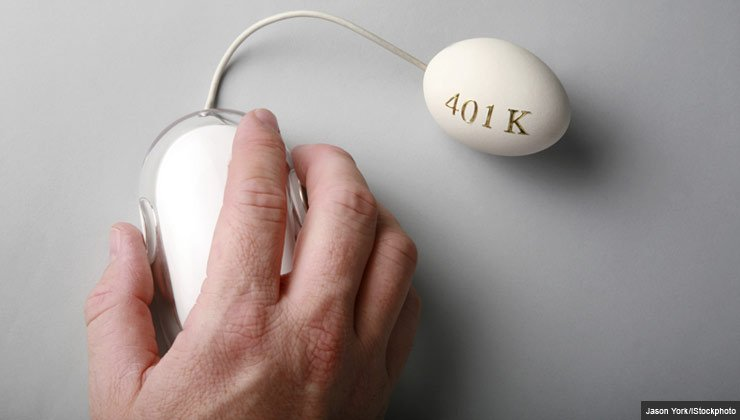 Human hand on computer mouse connected to a 401K labeled egg
