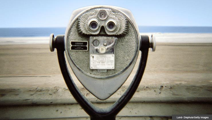 View finder, ocean in background