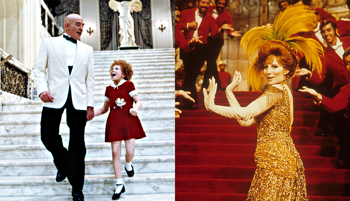 """(Left to right) Albert Finney and Aileen Quinn in """"Annie,"""" and Barbra Streisand in """"Hello, Dolly!"""""""