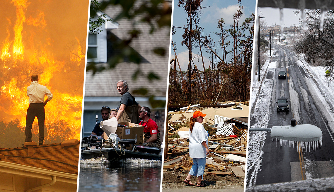 L to R: Springs Fire In Southern California; South Carolina flooding; Hurricane Katrina in Mississippi; ice & snow in Texas