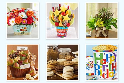 Six separate images of different types of gift boxes from top to bottom left to right flowers, edible arrangements, flowers, snack basket, cookie tray and assorted popcorn.
