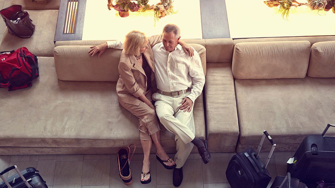 Couple in hotel lobby