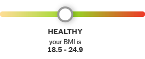 B M I Scale Results. Healthy. Your B M I is 18.5 to 24.9.