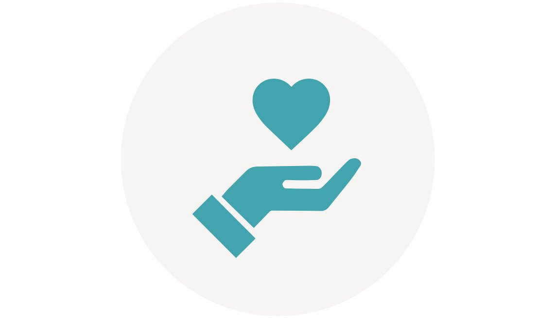 Do You Care Challenge icon. A hand with a heart over it