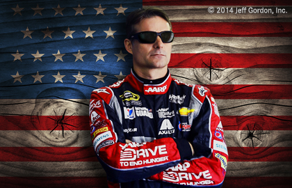 Jeff Gordon in front of American flag image