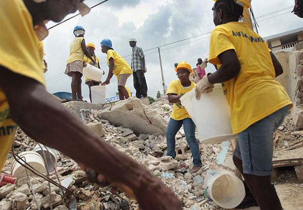 Workers clean up after the earthquate in Port-au-Prince, Haiti.