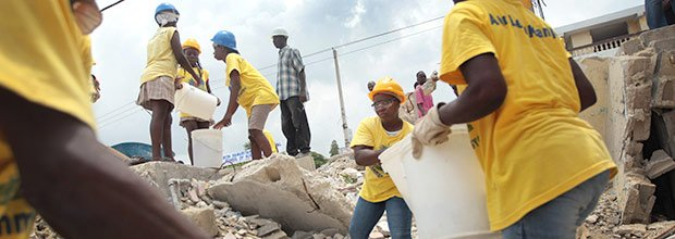 Workers clean up after the earthquake in Port-au-Prince, Haiti.