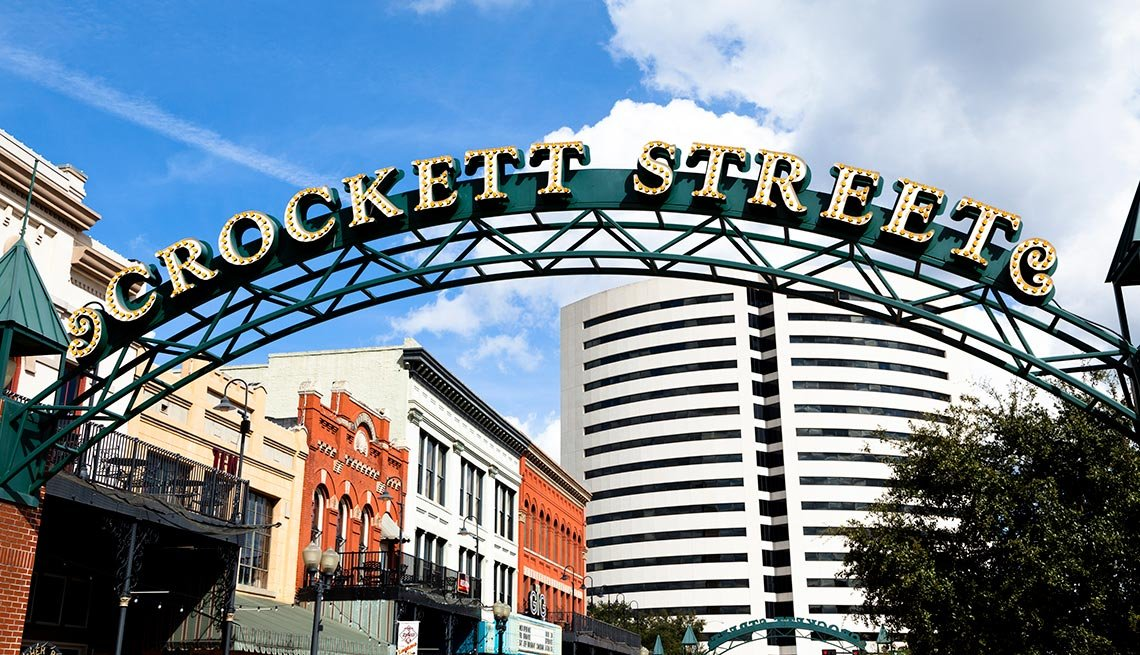 Crockett Street Sign, Beaumont, Texas, Entertainment District, AARP Foundation Experience Corps Cities
