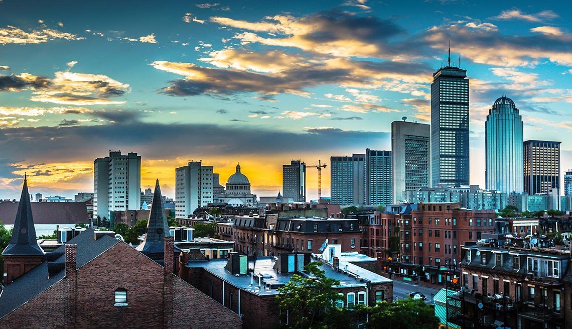 Sunset over Boston, Massachusetts, Clouds, Blue Light, Buildings, AARP Foundation Experience Corps Cities