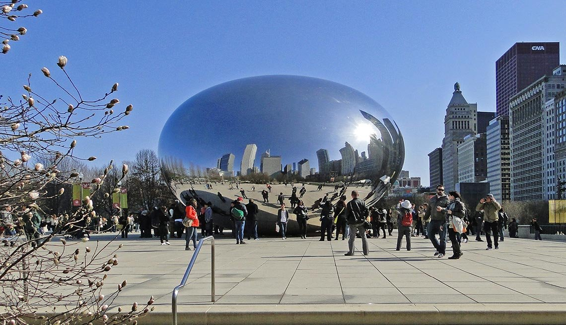 Cloud Gate, Chicago, Spring, Reflections, Art,  AARP Foundation Experience Corps Cities