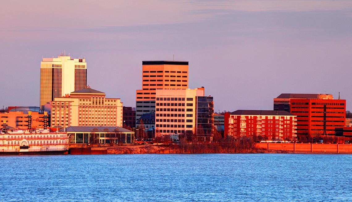 Sunrise on Evansville, Indiana, Ohio River, AARP Foundation Experience Corps Cities