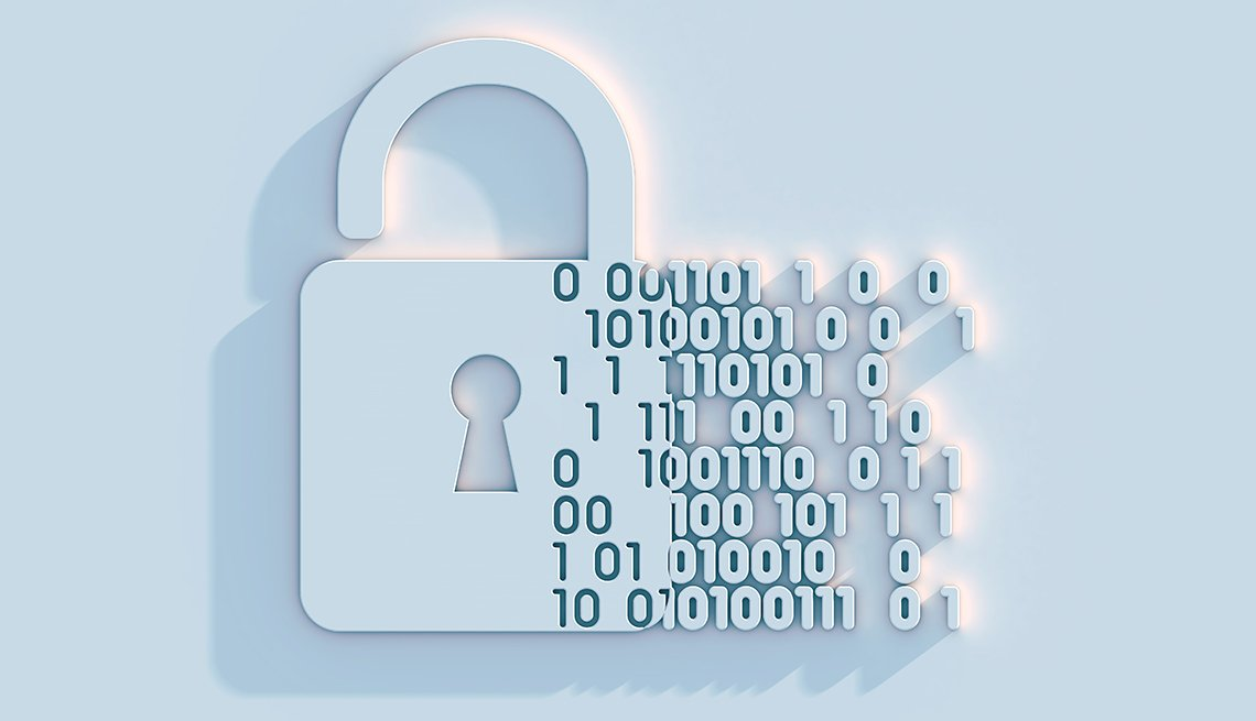 Illustration, Lock And Coding Numbers, Cyber Security, AARP Foundation, Privacy