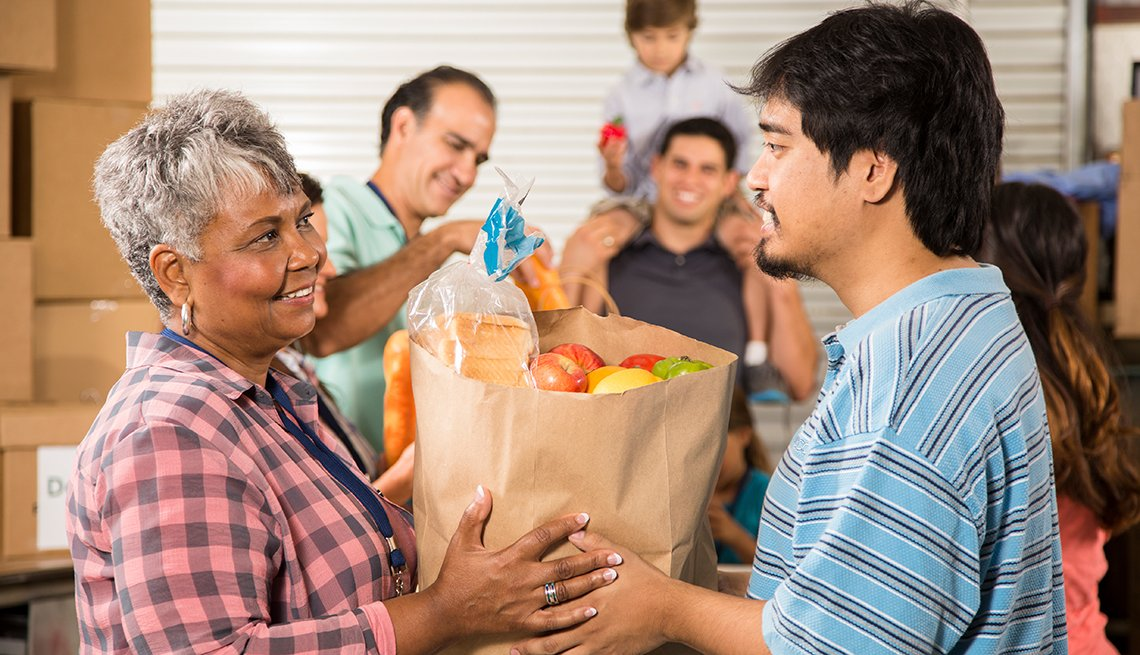 Volunteer, groceries, food bank, AARP Foundation, Food Assistance