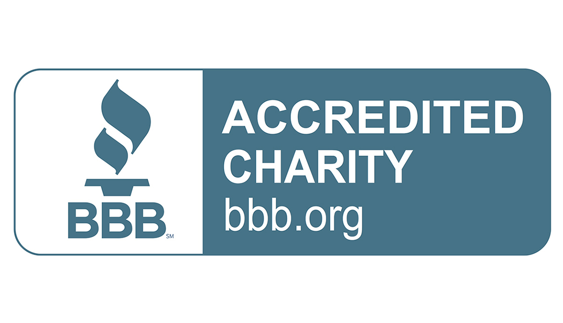 Better Business Bureau, Accredited Charity logo, AARP Foundation, Charity Rating
