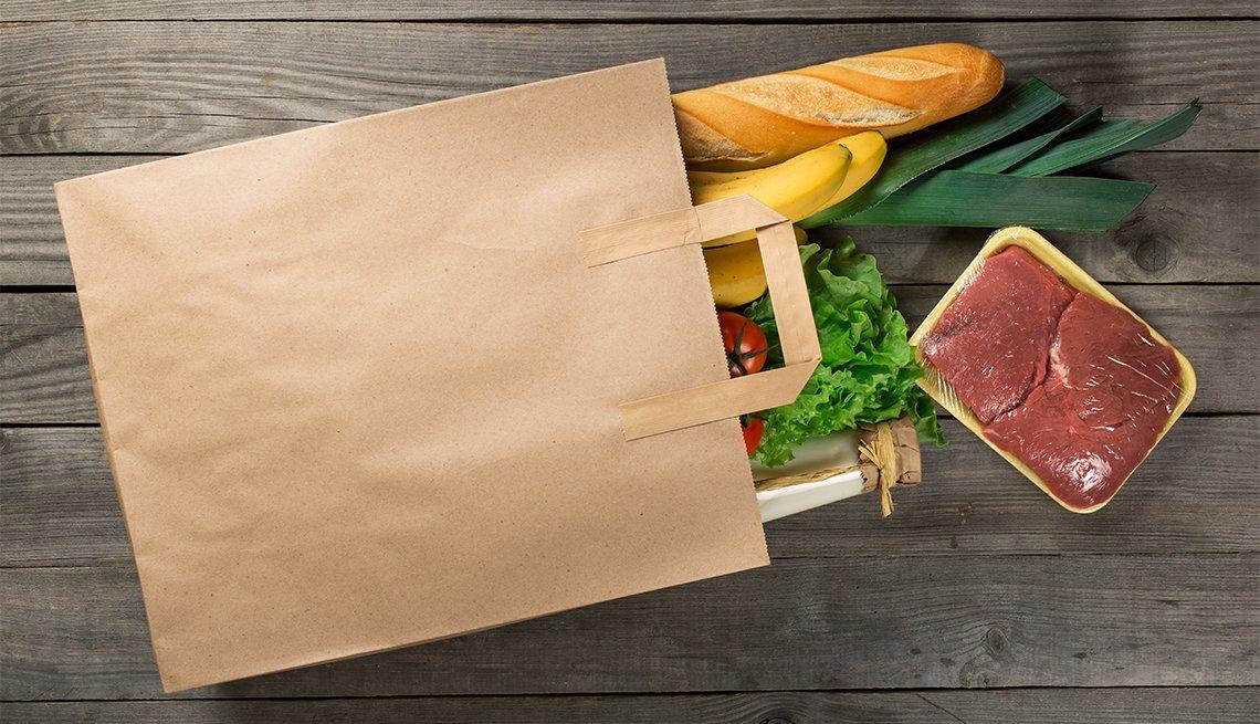 Paper bag of groceries, meat, a loaf of bread, lettuce, Hunger, AARP Foundation Litigation, Legal Advocacy
