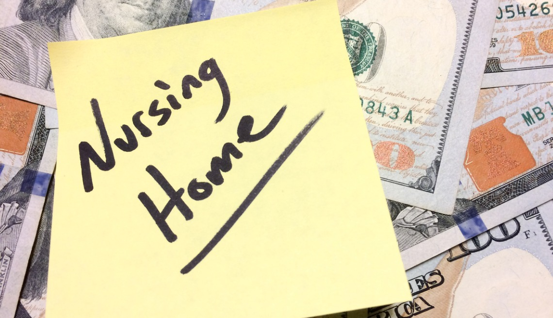 american-cash-money-and-yellow-paper-note-with-text-nursing-home.