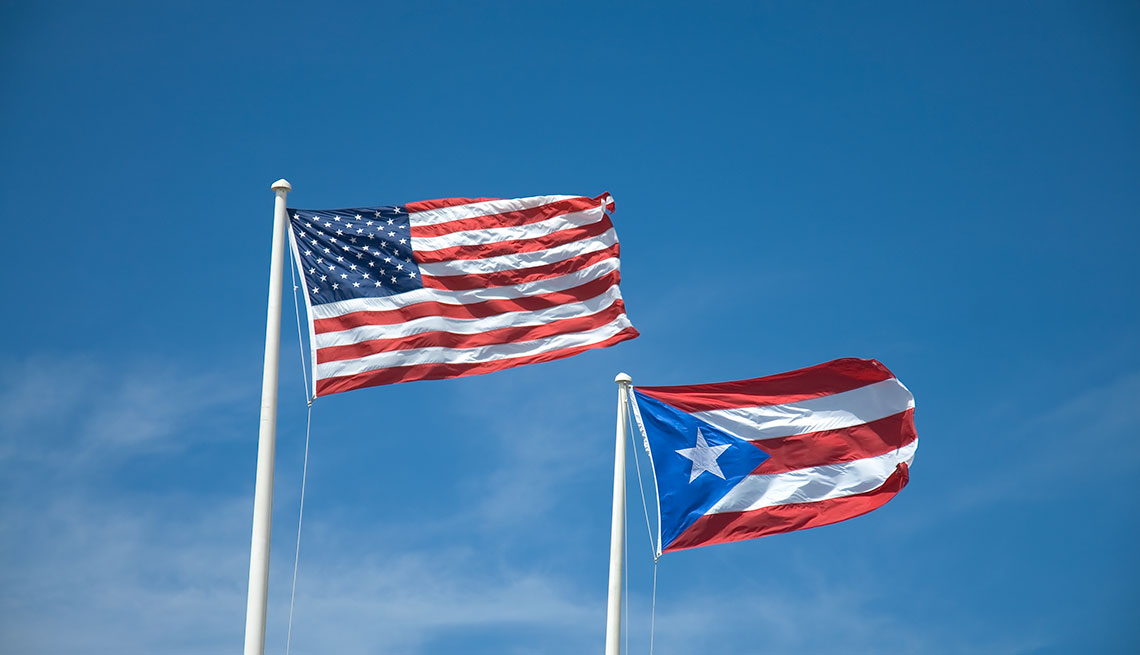 United States and Puerto Rico flags