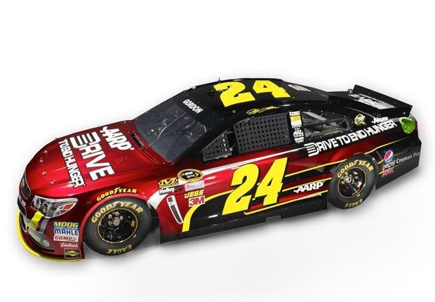 Jeff Gordon race car, #24, new paint scheme, AARP Drive to End Hunger