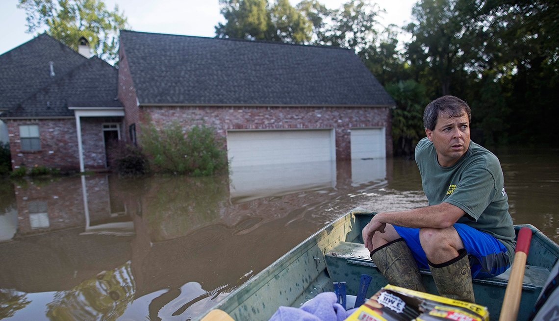 Flooded houses, Heavy rains, Louisiana, August 2016, AARP Flood Donation