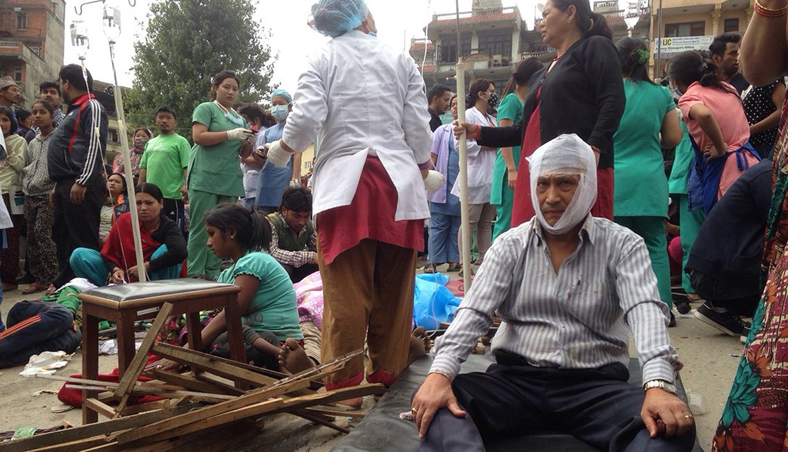 Injured people receive treatment, Kathmandu, Nepal, Earthquake, AARP Foundation, Disaster Relief